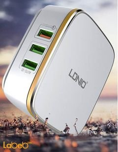 ldnio home charger - 3 USB ports - White color - A6704 model