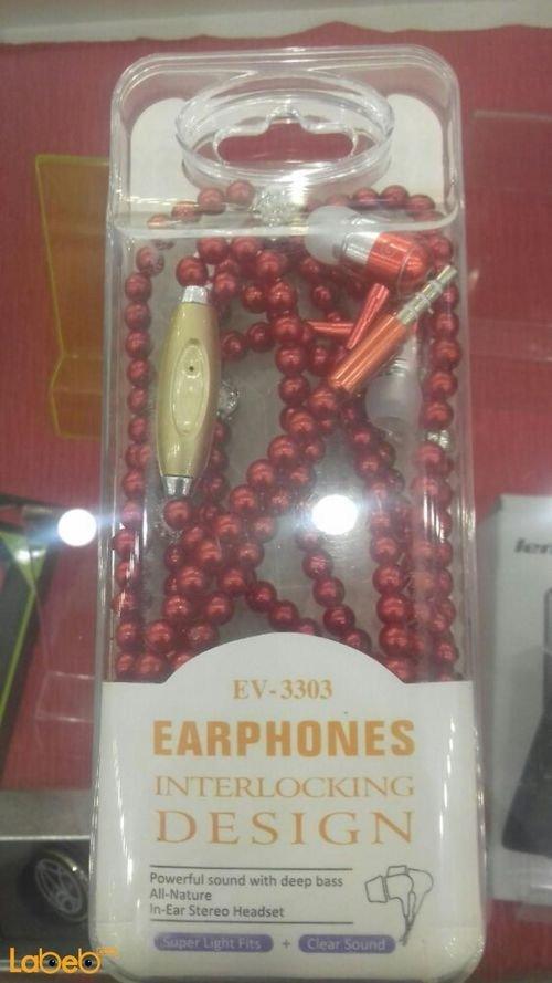 سماعة أذن لجميع الاجهزة لون احمر موديل EV-3303