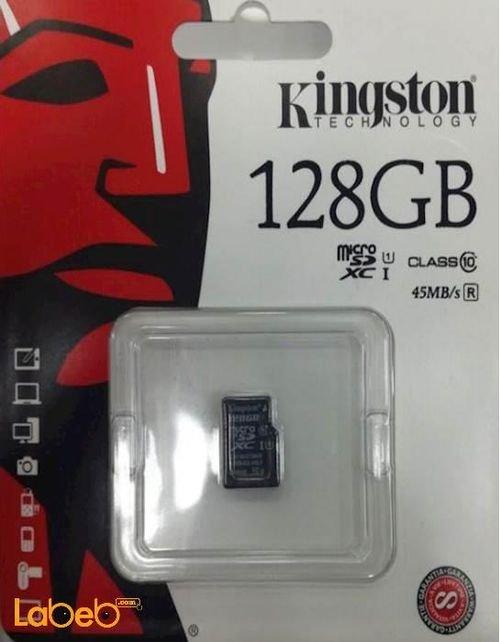 كرت ذاكرة للموبايلات كينجستون 128GB أسود SDC10G2/128GBSP