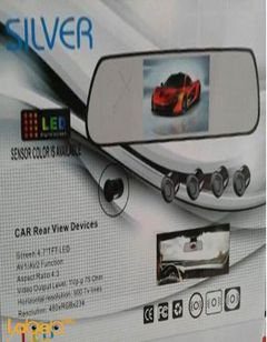 Silver car rear view devices - LED screen - 4.2 inch - 4 sensor