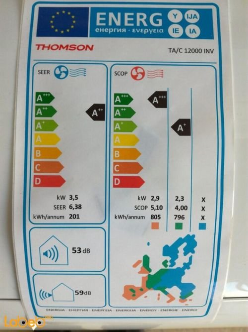 Thomson split air conditioner specifications 1 ton White TA/C 12000 INV