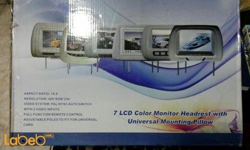 شاشة LCD سيارة للمقاعد الخلفية 7 انش منفذين فيديو