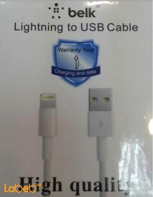 كابل شحن USB بيلك 1 متر لون ابيض موديل MD818FE