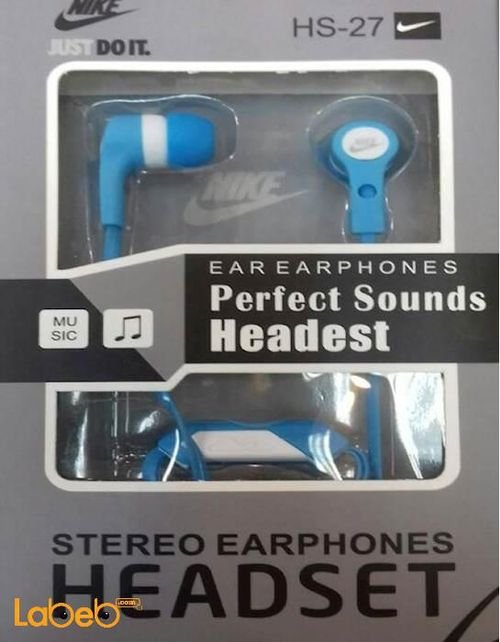 NIKE Stereo Earphone Headset with mic blue color HS-27