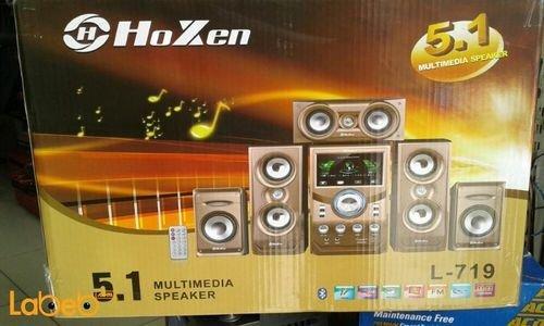 مكبر صوت وسماعات 5.1 Hoxen قدرة 12000 واط ذهبي موديل L-719
