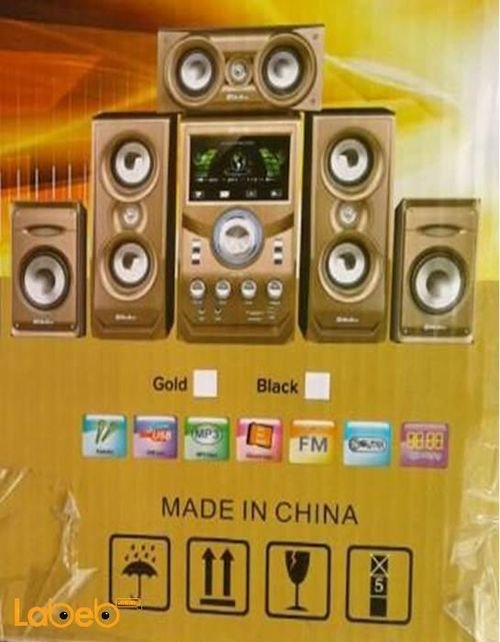 Hoxen 5.1 multimedia speaker 12000 Watt Gold L-719