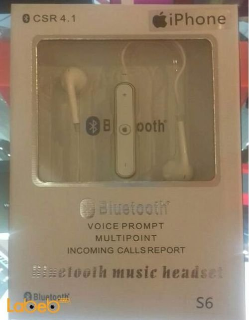 Bluetooth CSR4.1 music headset unevirsal White S6 model