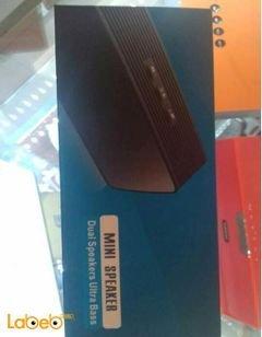 مكبر صوت ميني بلوتوث - 2*1.5 واط - لون اسود - مدى التوصيل 10 متر