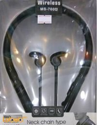 سماعة أذن لاسلكية مصممة كسلسلة للعنق لون اسود MS-760A