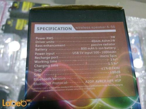 specifications Spectrum Wireless Speaker A-56