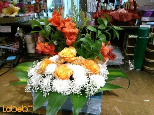 Natural flowers bouquet Orange White Red