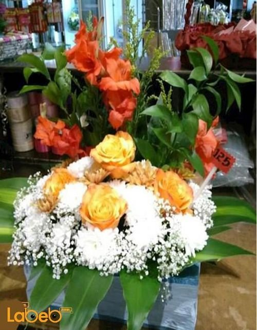 Natural flowers bouquet Orange White Red colors