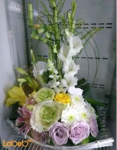 Natural flowers basket - Pink white and yellow colors