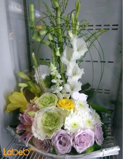 Natural flowers basket Pink white & yellow colors