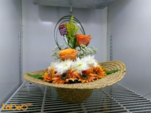 Natural & Artificial flowers basket Orange and White