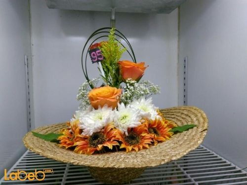 Natural & Artificial flowers basket Orange White