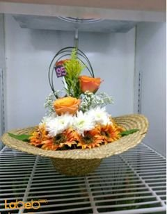 Natural & Artificial flowers basket - Orange - White