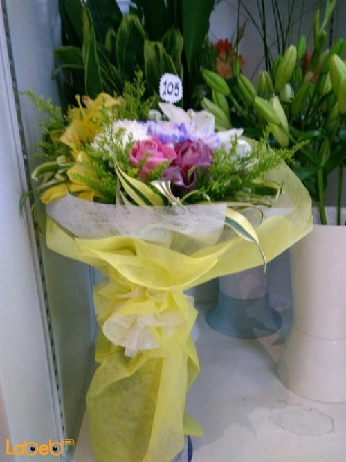 Natural flowers bouquet White Pink & yellow beautiful colors