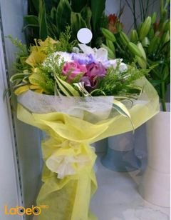 Natural flowers bouquet - White Pink & yellow - beautiful colors