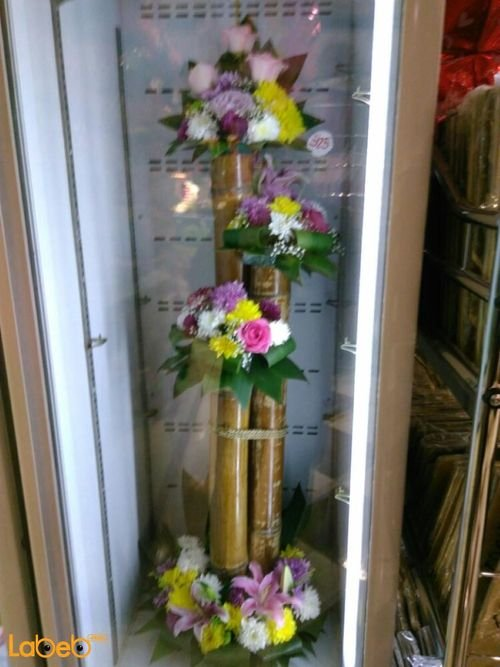 Wooden stand with Natural flowers Pink Yellow White Red colors