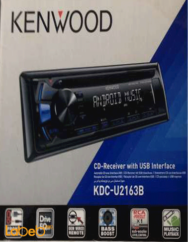 مسجل للسيارة كينوود - سي دي - منافذ USB و AUX - اسود - KDC-U2163B