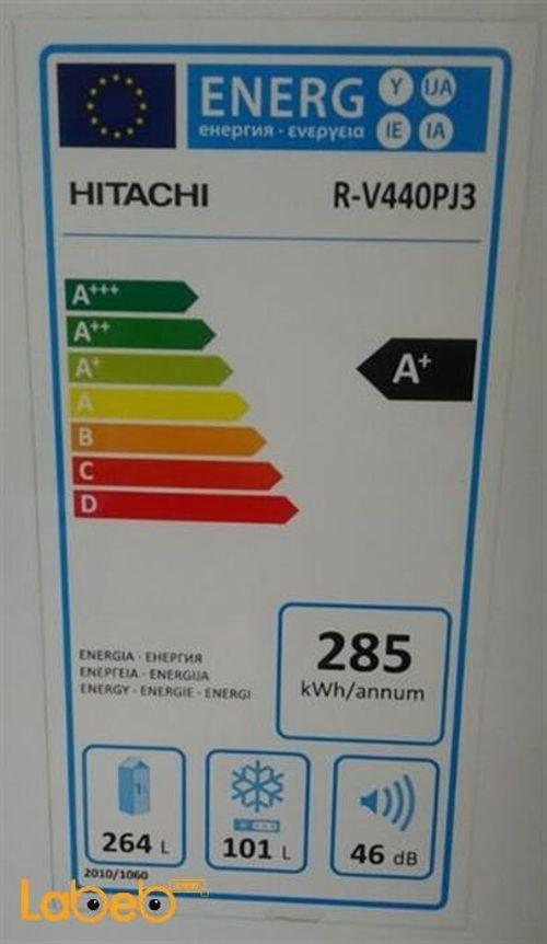 Hitachi Refrigerator top freezer specifications 365L Silver R-V440PJ3 model