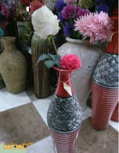 Artificial flowers vase - Pink and White - Red and grey vase