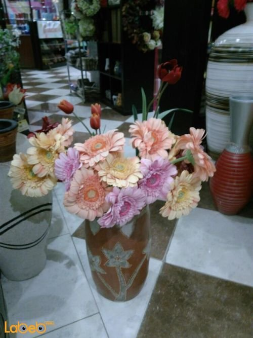 Artificial flowers Brown vase Pink Orange Red