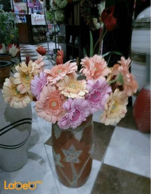 Artificial flowers vase Pink Orange Red colors Brown vase