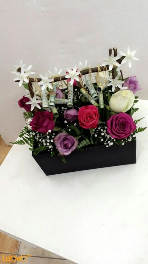 Natural flowers wooden box red pink white & purple colors Black box