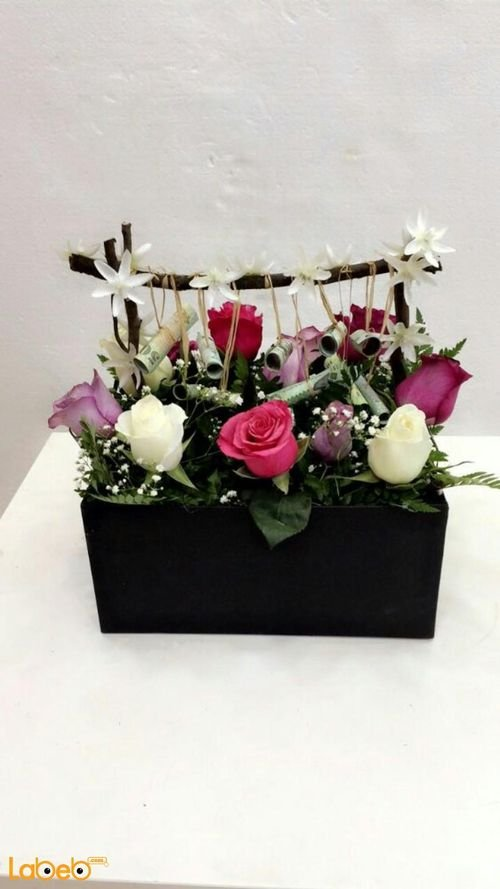 Natural flowers wooden box red pink white & purple Black box