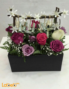 Natural flowers wooden box - red pink white & purple - Black box