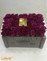 Naturale Flowers bouquet designed as wooden box Purple color