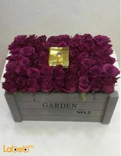 Naturale Flowers bouquet designed as wooden box - Purple color
