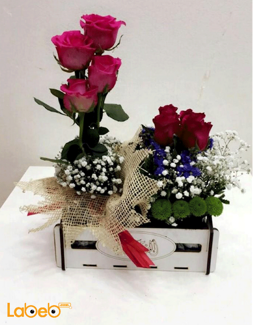 Natural flower wooden box Red Pink and Purple with necklace