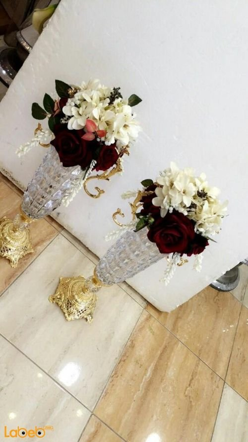 Artificial White & Red Flowers vase Glass & Gold base