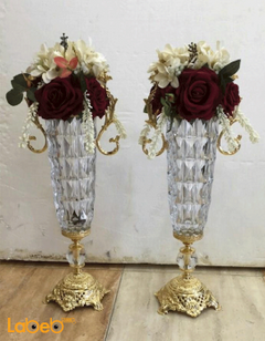 Artificial Flowers vase - White & Red flowers - Glass & Gold base