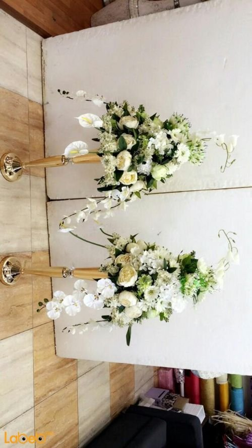 Artificial Flowers stand White flowers Green herb Gold base