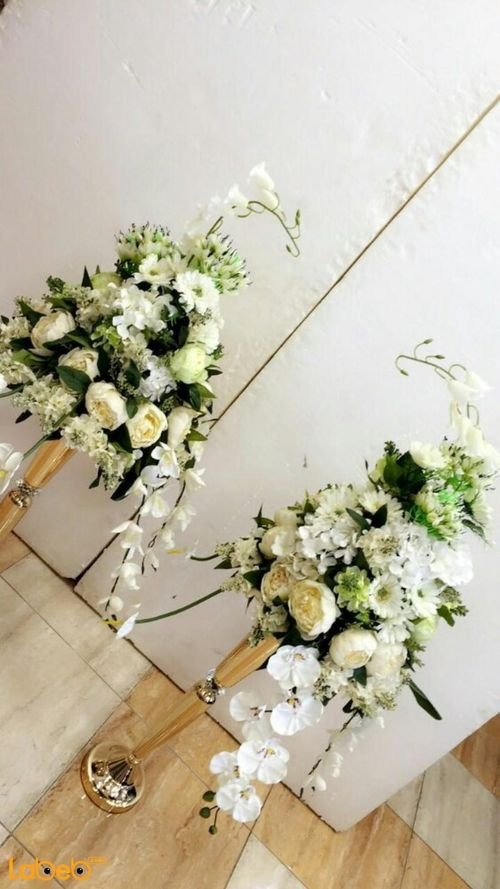 Artificial Flowers stand White flowers Green herb Gold color base