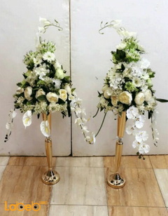 Artificial Flowers stand - White flowers Green herb - Gold base