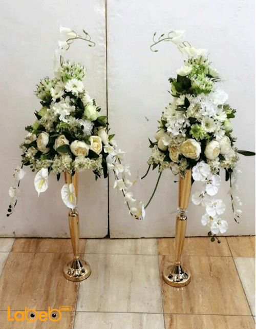 Artificial White Flowers stand Green herb Gold base