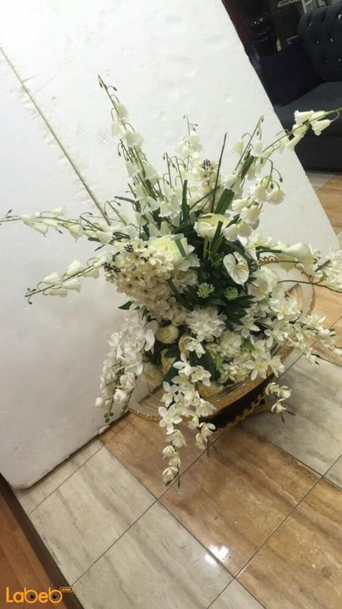 Artificial Flowers vase White flowers Green herb Gold base
