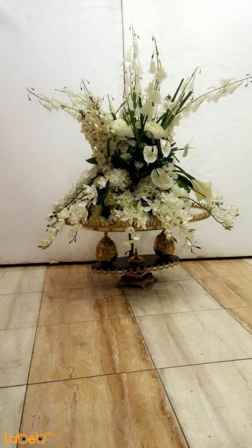 Artificial Flowers vase White flowers - Green herb 2 Layers Gold base