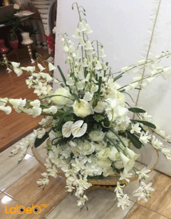 Artificial Flowers vase - White flowers - Green herb - Gold base