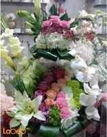 Natural flowers bouquet White Orange Purple Pink Green colors