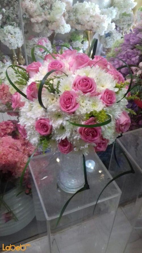 Natural flowers vase Glass vase White and Pink