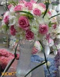 مزهرية ورد طبيعي فازة زجاج ألوان ابيض وزهري