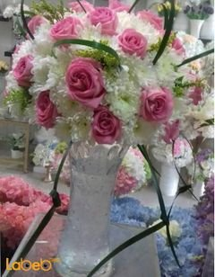 Natural flowers vase - Glass vase - White and Pink colors