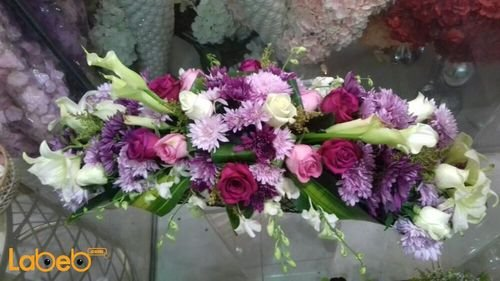 Natural flowers bouquet table decoration White Pink Purple