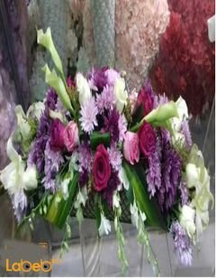 Natural flowers bouquet - table decoration - White Pink Purple